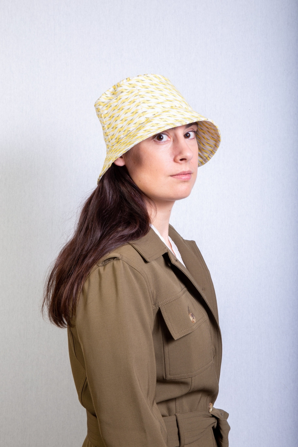 bucket hat yellow green Andrée