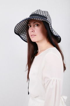 navy gingham women sun hat