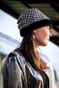 black and white tweed trim hat