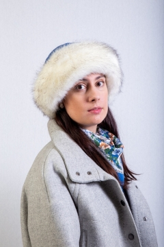 blue fox faux fur trim hat
