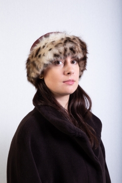 panther faux fur trim hat burgundy wool