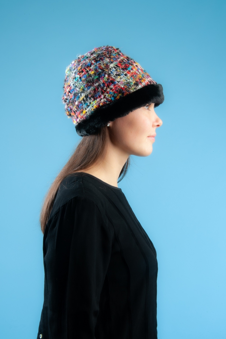 Black faux fur red tweed trim hat